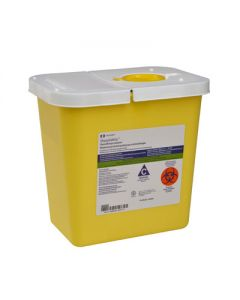 03-78-8982 SharpSafety™ Chemotherapy Container Hinged Lid - Yellow - 2 Gallon