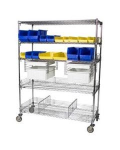 04-25-2460 5 Shelf Adjustable Chrome Supply Cart with Bins and Cover