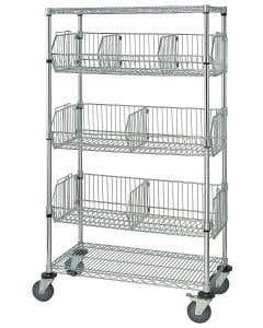 04-25-8202 Mobile Wire Basket Unit 18 x 36 x 69 Inch Chrome