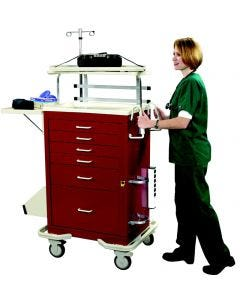 04-25-8208 6 Drawer Emergency Cart with Deluxe Package-Red