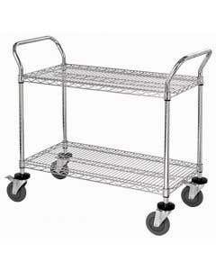 04-25-8220-CHRM2SHLF Wire Utility Cart 18 x 36 x 37 1/2 Inch 2 Shelves Chrome