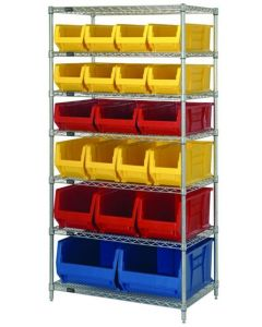 """04-25-8224 Wire Shelving Unit with Bins 36"""" x 24"""" x 74"""" Seven Shelves Variety of Bins"""