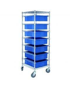 04-25-8230-BLU Mobile Rack with 7 Storage Tubs
