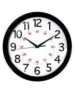 "04-50-7011 Realspace® Round 24-Hour Wall Clock - 12"" Black"