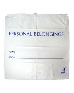 05-12-2020 Patient Belonging Bag White Opaque Drawstring - 20 x 20