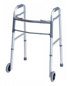 """05-23-0253 Graham-Field Deluxe Folding Walker, Two Button with 5"""" Wheels"""