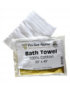"05-84-1001 Pocket Nurse® Bath Towel Each Natural 20"" x 40"" *Non-Returnable"