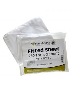 """05-84-1004 Pocket Nurse® Fitted Bed Sheet 39""""x 80""""x 9"""" *Non-Returnable"""