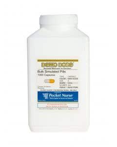 06-93-1724 Demo Dose® Capsule White/Yellow Medium Oval- 1000 Pills/Jar