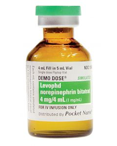06-93-6958 Demo Dose® Norepineprhrin Bitarate (Levophd) 4 mg/ 4 mL (1 mg/mL)