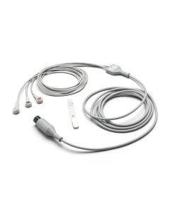 Welch Allyn ECG Cable with 3 Attached Snap leads AAMI 12'
