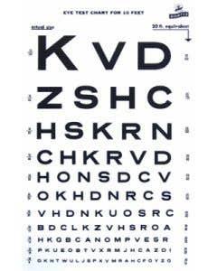 02-70-49 Graham Field Snellen Eye Chart 10' Distance