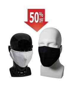 03-75-1105 Premium Cloth Face Mask Adjustable Earloop, 2 Layers, Black