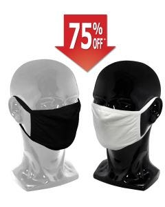 Premium Cloth Face Mask Adjustable Earloop, 2 Layers, Black