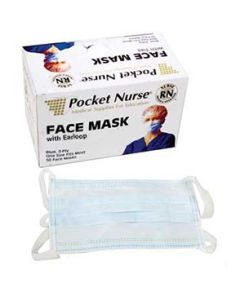 03-75-2201 Pocket Nurse® Exam Face Mask with Earloop  | Backordered item due to Covid-19.  ETA 8-14
