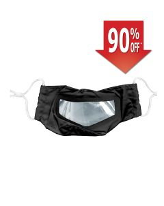 Cloth Mask with Fog-Resistant Window, Earloops, Adult, Black
