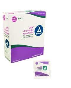 "BZK Antiseptic Towelettes, 5"" x 7"" 100/Box"