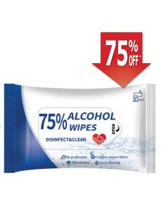 Disinfectant Wipes, 75% Alcohol 10/Pack