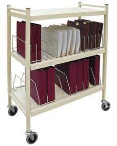 Two-Shelf Open Chart Rack, Beige