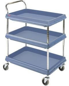 Deep Ledge 3-Shelf Utility Cart, Blue with Microban® Protection