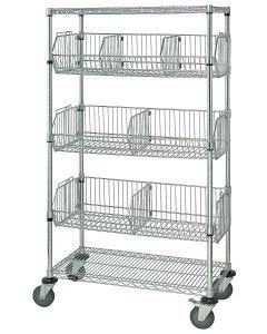 Mobile Wire Basket Unit 18 x 36 x 69 Inch Chrome