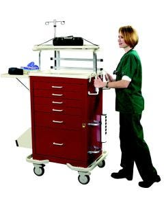 6 Drawer Emergency Cart with Deluxe Package-Red