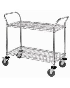 Wire Utility Cart 18 x 36 x 37 1/2 Inch 2 Shelves Chrome