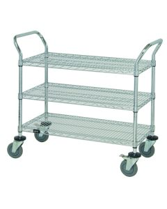 Wire Utility Cart 18 x 36 x 37 1/2 Inch 3 Shelves Chrome