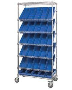 Slanted Shelving Unit 18 x 48 x 74 Mobile