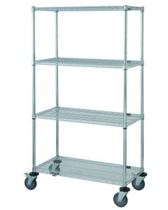 """Mobile Stem Caster Cart 72"""" x 18"""" x 36"""" Four Shelves Chrome"""