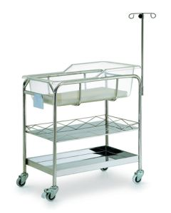 Pocket Nurse® Stainless Steel Baby Bassinet with Shelves