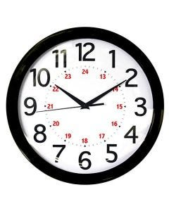 "Realspace® Round 24-Hour Wall Clock - 12"" Black"