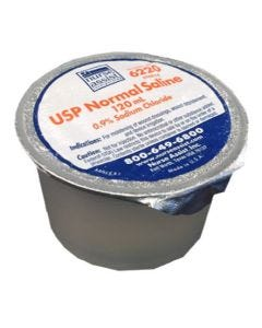 USP Normal Saline 120mL Foil Lid Cup