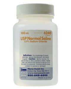 05-59-6241 USP Normal Saline 0.9% Sodium Chloride, 100mL Screw Top Bottle