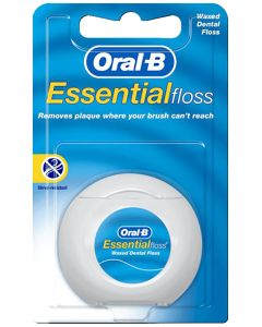 Oral B Essential Dental Floss Waxed, Non-Mint 55 Yds.