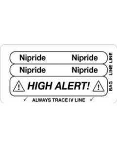 Nipride High Alert Piggyback Label