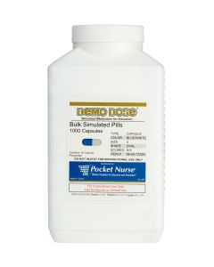 Demo Dose® Capsule Blue/White Medium Oval- 1000 Pills/Jar