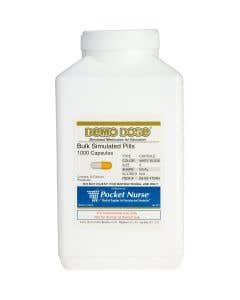 Demo Dose® Capsule White/Yellow Medium Oval- 1000 Pills/Jar