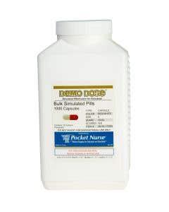 Demo Dose® Capsule Red/White Medium Oval- 1000 Pills/Jar