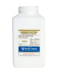 Demo Dose® Capsule White/White Medium Oval- 1000 Pills/Jar