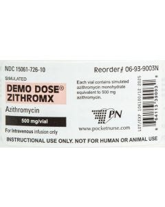 Demo Dose® Zithromx (Azithromycn) 10 mL 500mg/vial Label