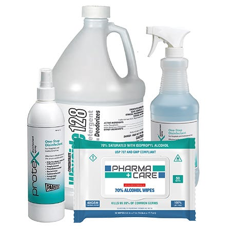 Various disinfectants including spray, refillable, pump and disinfectant wipes
