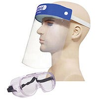 Face shield with mannequin and large goggles