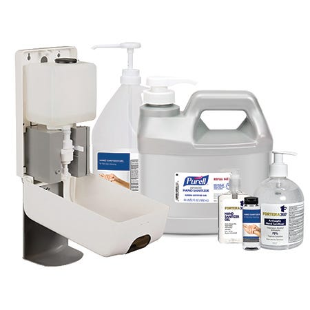 Various hand sanitizers in pump bottles and dispensers