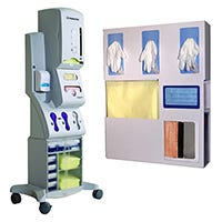 Image of a PPE dispensing unit and a personal protection organizer